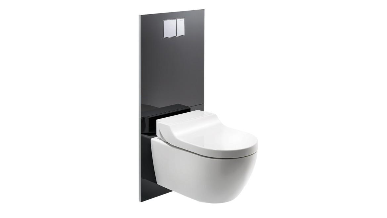 Designafdækning i hvidt plast til douchetoilet